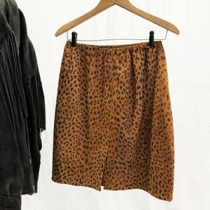 CACHE In Transit New York Cheetah Leather Skirt
